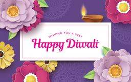 Happy Diwali. Diwali festival greeting card with beautiful blossom flowers and Diwali diya oil lamp royalty free illustration