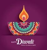 Happy Diwali. Diwali festival greeting card with colorful diya lamp