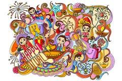 Happy Diwali doddle drawing Stock Photo