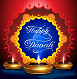 Happy diwali festival background with deepak. Vector illustration Stock Images