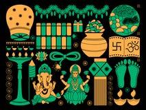 Happy Diwali festival background kitsch art India Royalty Free Stock Photos