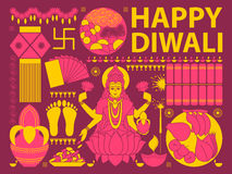 Happy Diwali festival background kitsch art India Royalty Free Stock Image