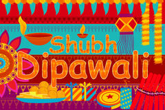 Happy Diwali festival background kitsch art India. Vector illustration of festival background kitsch art India with message meaning Happy Dipawali Royalty Free Stock Photo