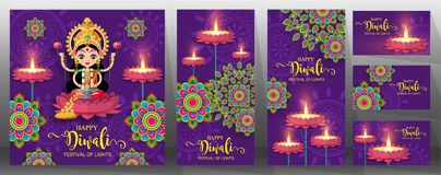 Happy Diwali festival card . Happy Diwali festival card with gold diya patterned and crystals on paper color Background vector illustration