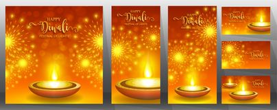 Happy Diwali festival card . Happy Diwali festival card with gold diya patterned and crystals on paper color Background