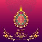 Happy Diwali festival card. With gold diya patterned and crystals on paper color Background royalty free illustration