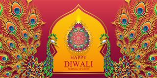 Happy Diwali festival card. With gold diya patterned and crystals on paper color Background vector illustration