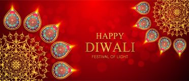 Happy Diwali festival card. With gold diya patterned and crystals on paper color Background