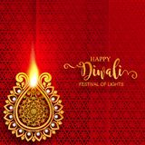 Happy Diwali festival card. With gold diya patterned and crystals on paper color Background stock illustration