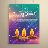 Happy diwali festival flyer greeting template with three diya an. D fireworks on colorful background Stock Images