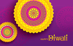 Happy Diwali. Diwali festival greeting card with beautifull rangoli backgrounds Stock Images