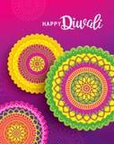 Happy Diwali. Diwali festival greeting card with colorful rangoli background royalty free illustration