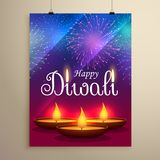 Happy diwali festival greeting design with diya and fireworks. Vector Royalty Free Stock Images