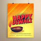 Happy diwali festival greeting with diwali and fireworks. Vector Stock Photography