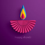 Happy Diwali. Paper Graphic of Indian Diya Oil Lamp Design. Happy Diwali. The Festival of Lights