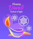Happy Diwali Festival of Lights 2017 Poster. Decorated with mandalas and candle silhouettes on blue light. Vector illustration with congratulations stock illustration