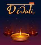 Happy Diwali festival of lights. Retro oil lamp on background night sky with stars. Illustration in vector format Royalty Free Stock Image