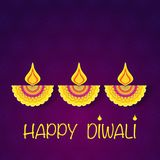 Happy diwali flower background. Dark blue floral background with three festival lamps and sample text royalty free illustration