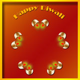 Happy Diwali. With four lighted lamps Royalty Free Stock Image