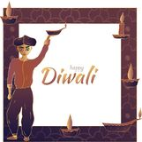 Happy Diwali! Frame with a Hindu holding an oil lamp, candles and an inscription in the center. stock illustration