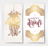 Happy Diwali gold greeting card with hand written inscription to Stock Photography