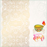 Happy Diwali gold greeting card with hand written inscription  Stock Photos
