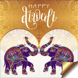 Happy Diwali gold greeting card with hand written inscription an. D two elephants to indian light community festival, vector illustration