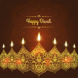 Happy Diwali, . Greeting Card design for Diwali festival with beautiful ornamental lamps, flame of a candle Stock Images