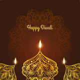 Happy Diwali, . Greeting Card design for Diwali festival with beautiful ornamental lamps, flame of a candle Royalty Free Stock Photo