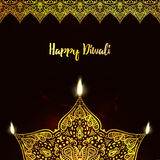 Happy Diwali, . Greeting Card design for Diwali festival with beautiful ornamental lamps, flame of a candle Royalty Free Stock Images