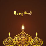 Happy Diwali, . Greeting Card design for Diwali festival with beautiful ornamental lamps, flame of a candle Stock Photos