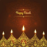 Happy Diwali, . Greeting Card design for Diwali festival with beautiful ornamental lamps, flame of a candle Royalty Free Stock Photography