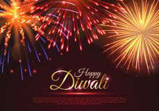 Happy Diwali greeting card design. Happy Diwali greeting card with realistic dazzling display of fireworks. Popular festival of hinduism vector illustration vector illustration
