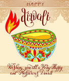 Happy Diwali greeting card with hand written inscription  Stock Images