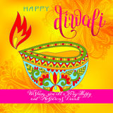 Happy Diwali greeting card with hand written inscription  Stock Image