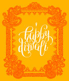 Happy Diwali greeting card with paisley ornamental frame design Royalty Free Stock Image