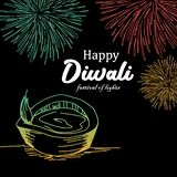 Happy Diwali greeting design with burning diya and fireworks. Colorful festival of lights vintage background with hand drawn style royalty free illustration