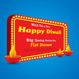 Happy diwali greeting design. Happy diwali festival big saving festive offer banner design Stock Image