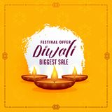 Happy diwali greeting design template with three diya lamps on y Royalty Free Stock Images