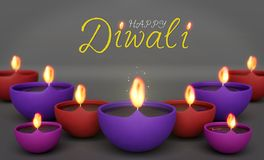 Happy diwali greetings with Burning Lamps, 3d rendering royalty free illustration