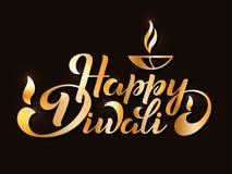 Happy Diwali. Handwritten brush black text, gold pinstripe. Beautiful lettering invitation, greeting, prints, posters. Typographic inscription, calligraphic