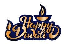 Happy Diwali. Handwritten brush black text, gold pinstripe. Beautiful lettering invitation, greeting, prints, posters. Typographic inscription, calligraphic royalty free illustration