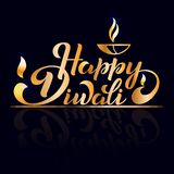 Happy Diwali. Handwritten brush black text, gold pinstripe. Beautiful lettering invitation, greeting, prints, posters. Typographic inscription, calligraphic vector illustration