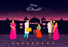 Happy Diwali.Happy Diwali. Traditional Indian Festival. Diwali festival of India with gifts in vector. Happy Diwali.Happy Diwali. Traditional Indian Festival