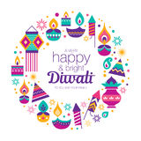 Happy Diwali. Diwali Hindu festival greeting card with modern elements Stock Images