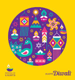 Happy Diwali. Diwali Hindu festival greeting card with modern elements Royalty Free Stock Images