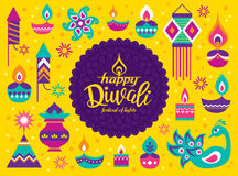 Happy Diwali. Diwali Hindu festival greeting card with modern elements Stock Photo