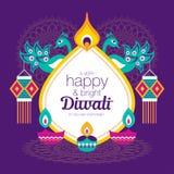 Happy Diwali. Diwali Hindu festival greeting card with modern elements royalty free illustration