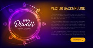 Happy Diwali. Holiday vector illustration of hindu religion event Deepavali. Sale promotional banner. Ads poster template design. Festive light banner stock illustration