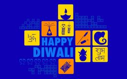 Happy Diwali. Illustration of Happy Diwali background with diya and firecracker vector illustration